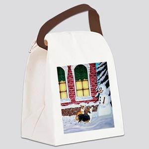 Corgis With Snowman Canvas Lunch Bag