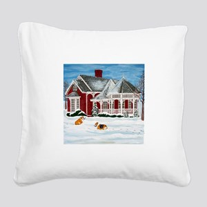 Winter Frolic Square Canvas Pillow