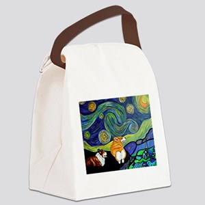 Corgi Starry Starry Night Canvas Lunch Bag