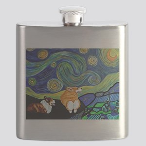 Corgi Starry Starry Night Flask