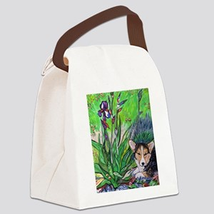 A corgi rests in Spring Canvas Lunch Bag