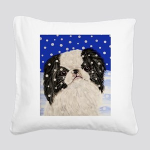 Snowflakes japanese chin Square Canvas Pillow