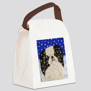Snowflakes japanese chin Canvas Lunch Bag