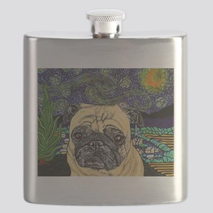 Starry night pug Flask