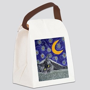 Starry night black cat Canvas Lunch Bag