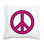 Pink Peace Sign Square Canvas Pillow