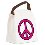 Pink Peace Sign Canvas Lunch Bag