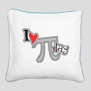 I heart (love) Pi Day Square Canvas Pillow