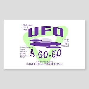 UFO A Go Go Light Rectangle Sticker