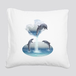 The Heart Of The Dolphins Square Canvas Pillow