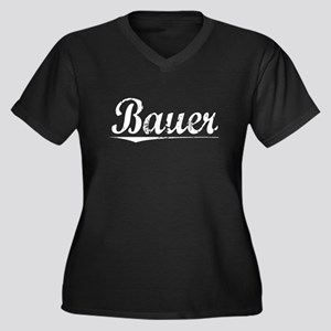 Bauer, Vintage Women's Plus Size V-Neck Dark T-Shi