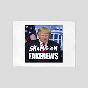 Trump Shame On Fake News Meme 5'x7'Area Rug
