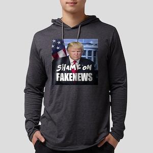 Trump Shame On Fake News Meme Mens Hooded Shirt