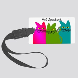 Vet Assistant whim cats Large Luggage Tag