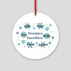 Custom Grandmas Snowflakes Ornament (Round)