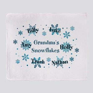Custom Grandmas Snowflakes Throw Blanket