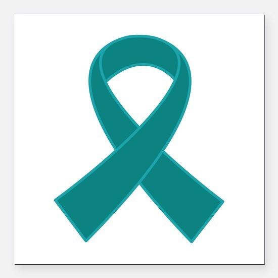 """Teal Ribbon Awareness Square Car Magnet 3"""" x 3"""""""