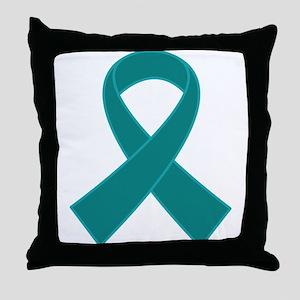 Teal Ribbon Awareness Throw Pillow