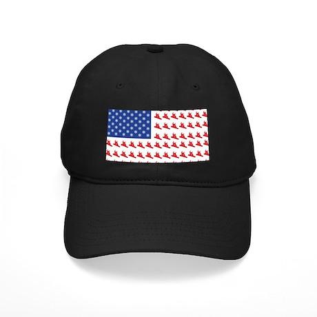 Patriotic Snowboarder USA Fla Black Cap