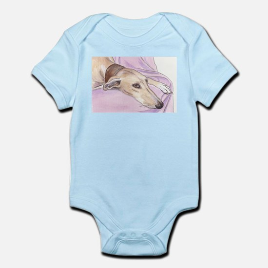 Lurcher on sofa Infant Bodysuit