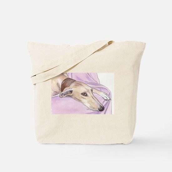 Lurcher on sofa Tote Bag