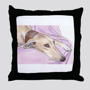 Lurcher on sofa Throw Pillow
