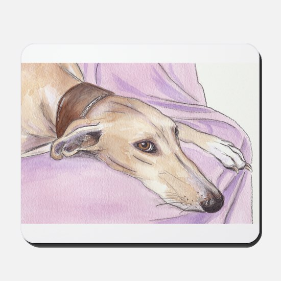 Lurcher on sofa Mousepad