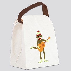 Sock Monkey Acoustic Guitar Canvas Lunch Bag