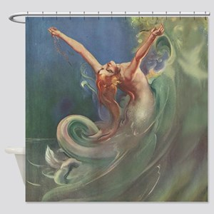 Vintage Mermaid Art Shower Curtain