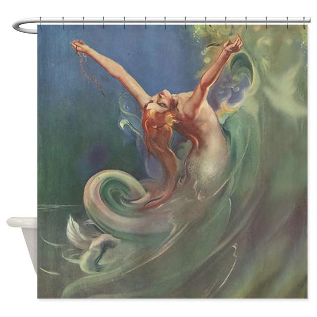 Vintage Mermaid Art Shower Curtain By AntiquiTees