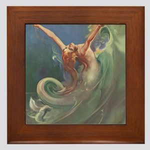 Vintage 1930s Mermaid Framed Tile