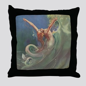 Vintage 1930s Mermaid Throw Pillow