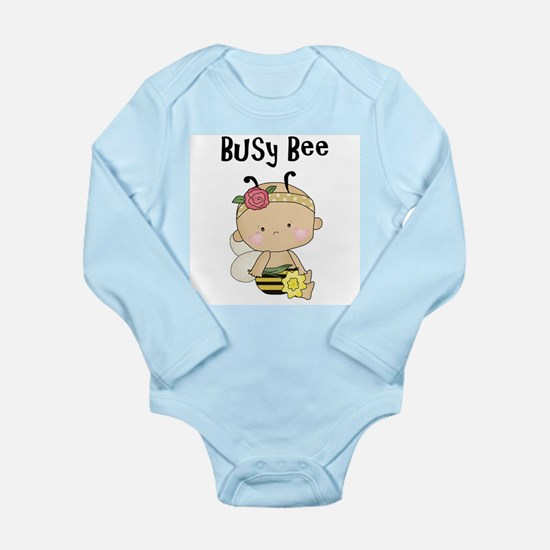 Baby Girl Busy Bee Baby Bodysuit - Long Sleeve