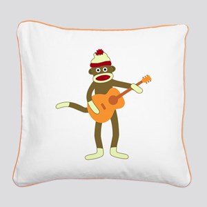 Sock Monkey Acoustic Guitar Square Canvas Pillow