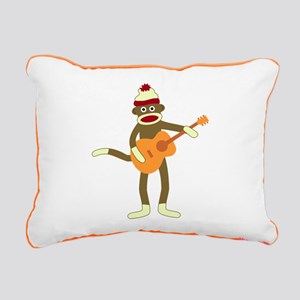 Sock Monkey Acoustic Guitar Canvas Pillow