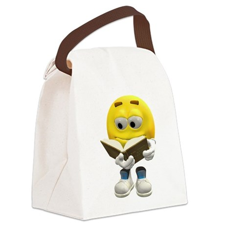 Book Smiley Canvas Lunch Bag