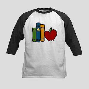 School Books And Apple Kids Baseball Jersey