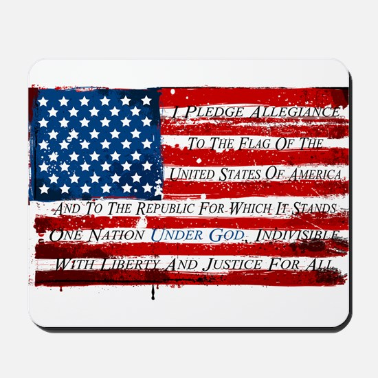 Patriotic Pledge of Allegiance USA Flag Mousepad