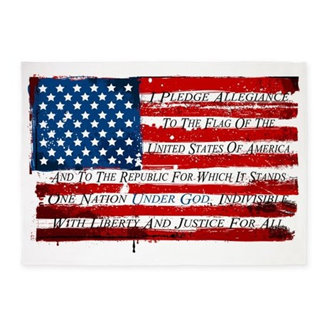 Patriotic Pledge Of Allegiance Usa 5 X7 Area Rug