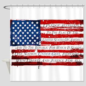 Patriotic Pledge of Allegiance USA Shower Curtain