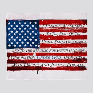 Patriotic Pledge of Allegiance USA F Throw Blanket