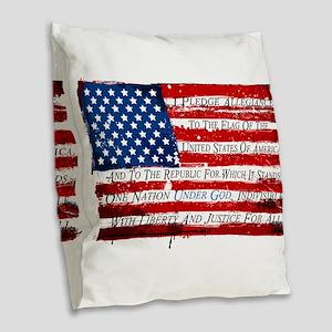 Patriotic Pledge of Allegiance Burlap Throw Pillow