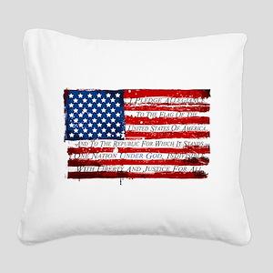 Patriotic Pledge of Allegianc Square Canvas Pillow