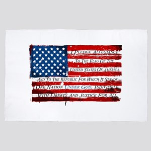Patriotic Pledge of Allegiance USA Fla 4' x 6' Rug