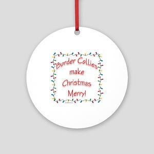 Border Collie Merry Ornament (Round)