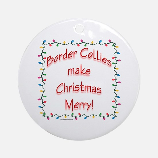 Border Collie Merry Ornament (Round)