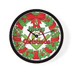 Masonic Christmas Wreath Wall Clock