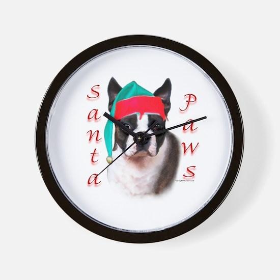 Santa Paws Boston Terrier Wall Clock