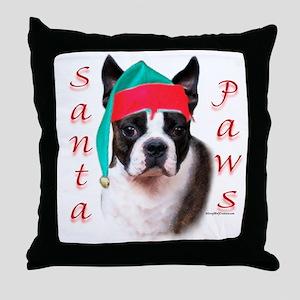 Santa Paws Boston Terrier Throw Pillow