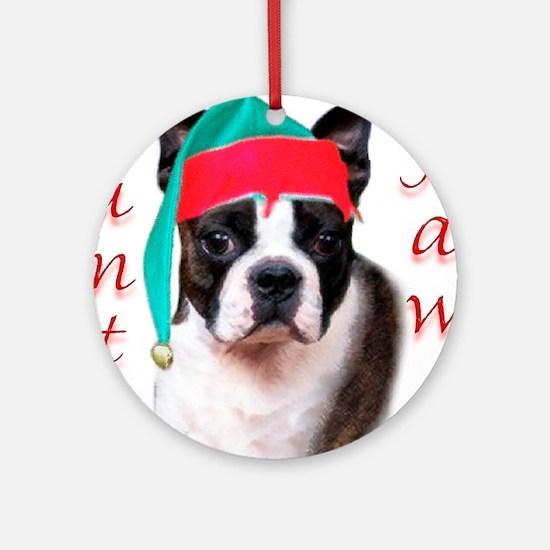 Santa Paws Boston Terrier Ornament (Round)